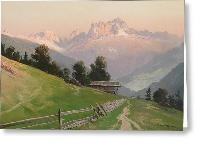 View Of The Rosengarten Dolomites In The Evening Light Greeting Card