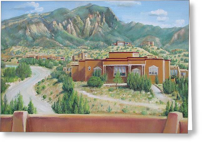 Greeting Card featuring the painting View Of The Sandias by Oz Freedgood