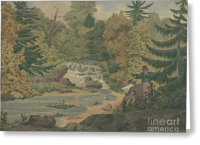 View Of The Second Falls On The Sawkill Near Mr Montgomery's Greeting Card