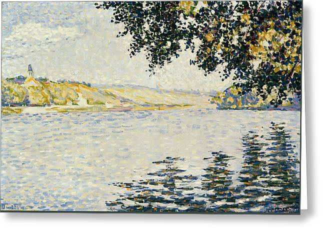 View Of The Seine At Herblay Greeting Card by Paul Signac