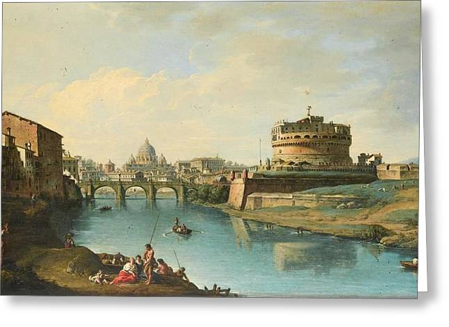 View Of The Tiber Looking Towards The Castel Greeting Card