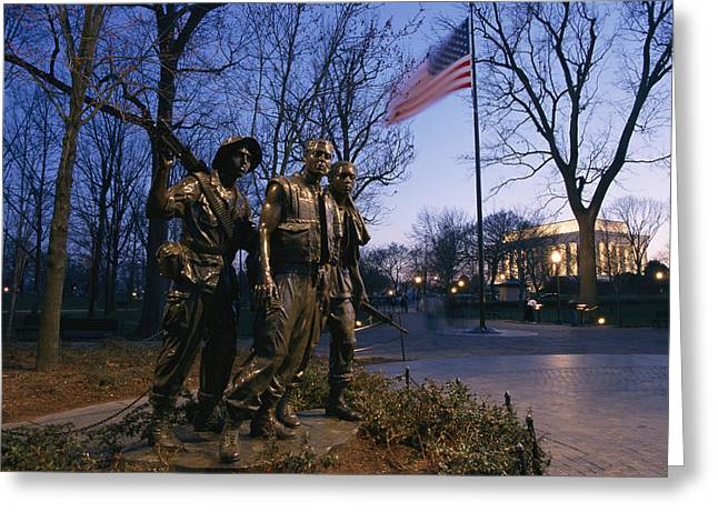 View Of The Vietnam Memorial Greeting Card by Richard Nowitz