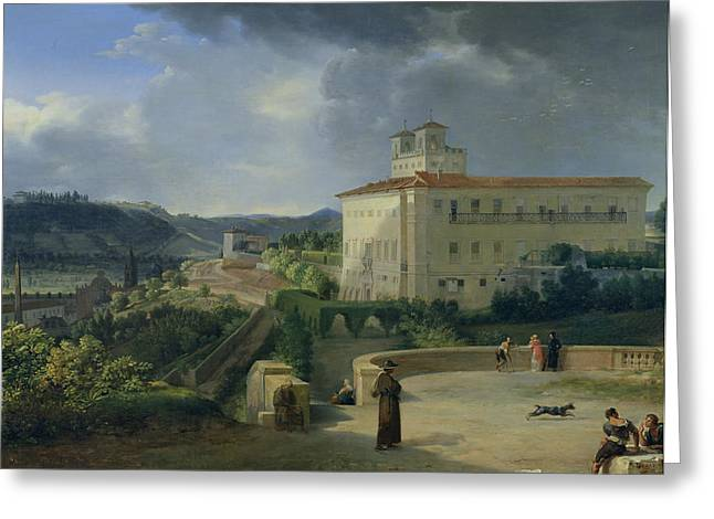View Of The Villa Medici In Rome Greeting Card by Nicolas Antoine Taunay