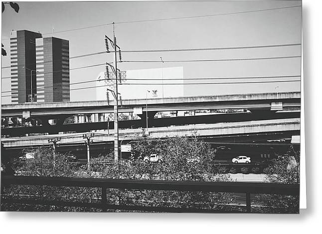 View Of Toll Way Bridge Black And White Color Greeting Card by Sirikorn Techatraibhop