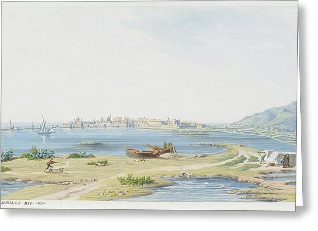 View Of Trapani With Mount Greeting Card
