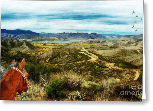 Greeting Card featuring the digital art View Of Vail Lake On Horseback by Rhonda Strickland