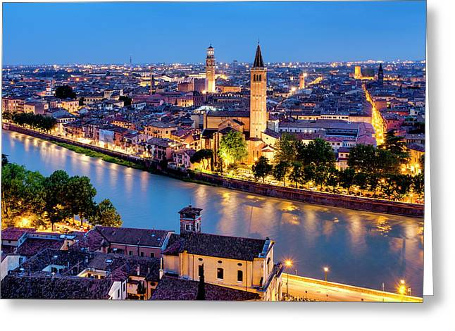 Greeting Card featuring the photograph View Of Verona by Fabrizio Troiani