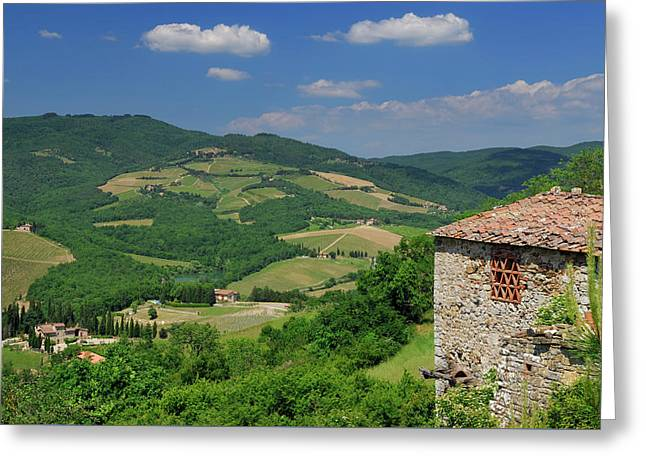 View Of Vineyards And Ancient Hillside House From Radda In Chian Greeting Card