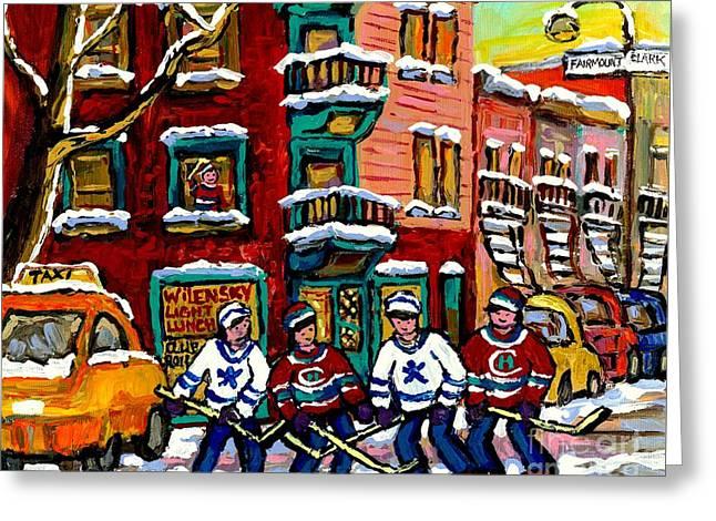 View Of Wilensky's Diner Winter City Scene Montreal Hockey Art Painting Carole Spandau               Greeting Card