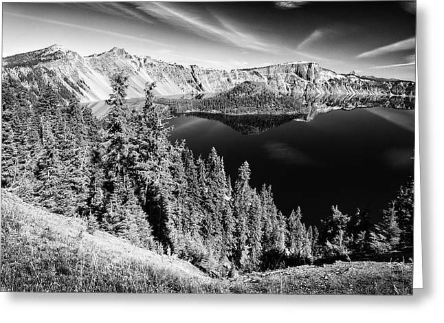 View Of Wizard Island Crater Lake B W Greeting Card by Frank Wilson