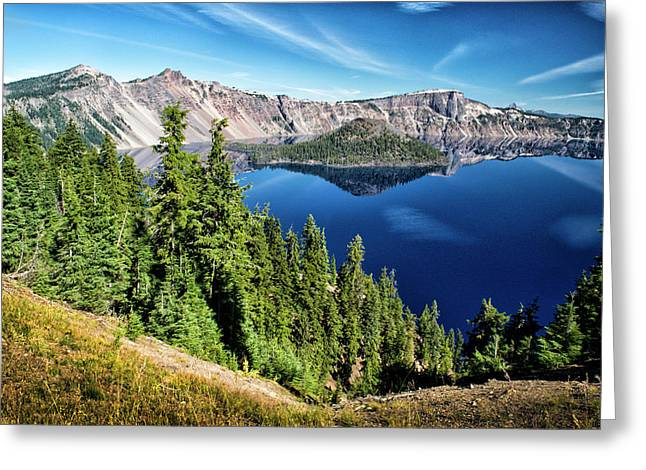 View Of Wizard Island Crater Lake Greeting Card by Frank Wilson