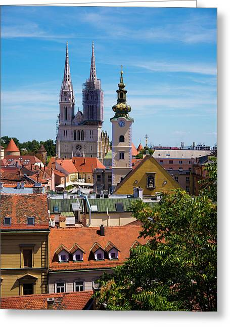 View Of Zagreb Greeting Card by Rae Tucker
