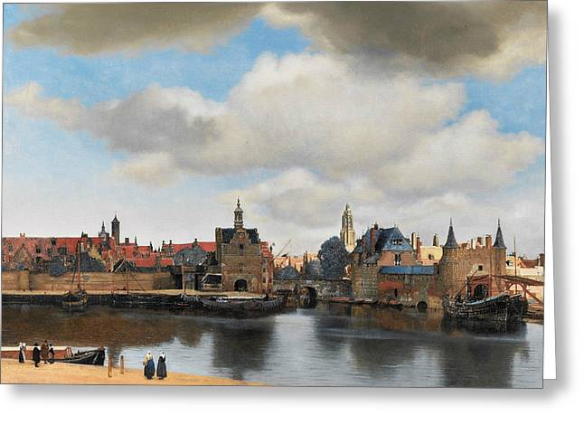 View On Delft Greeting Card by Jan Vermeer