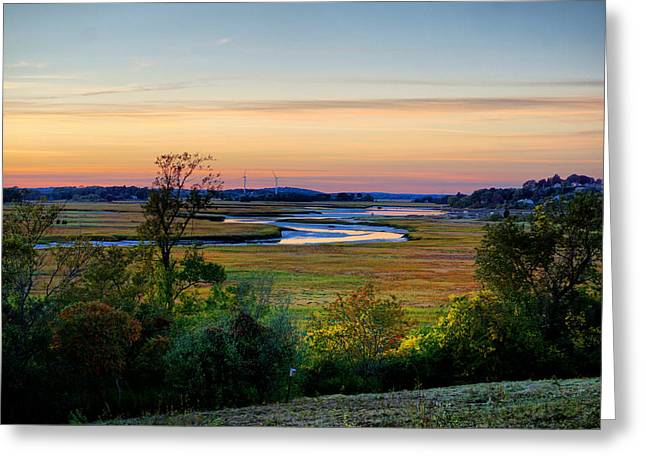 View On Fox Creak After Sunset  Greeting Card by Lilia D