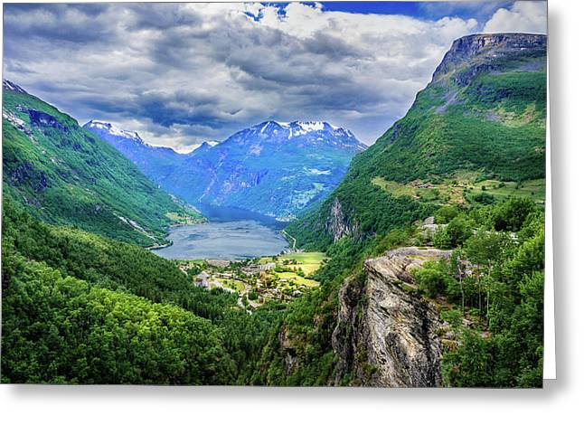Greeting Card featuring the photograph View On Geiranger From Flydalsjuvet by Dmytro Korol
