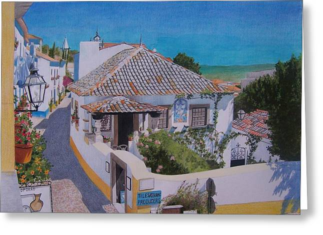 Greeting Card featuring the mixed media View On Obidos by Constance Drescher