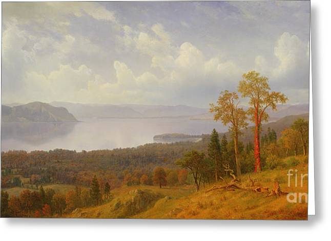 View On The Hudson Looking Across The Tappen Zee Towards Hook Mountain Greeting Card by Albert Bierstadt