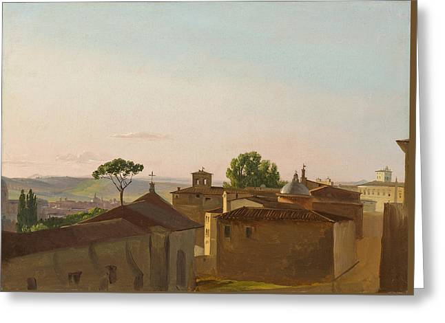 Greeting Card featuring the painting View On The Quirinal Hill. Rome by Simon Denis
