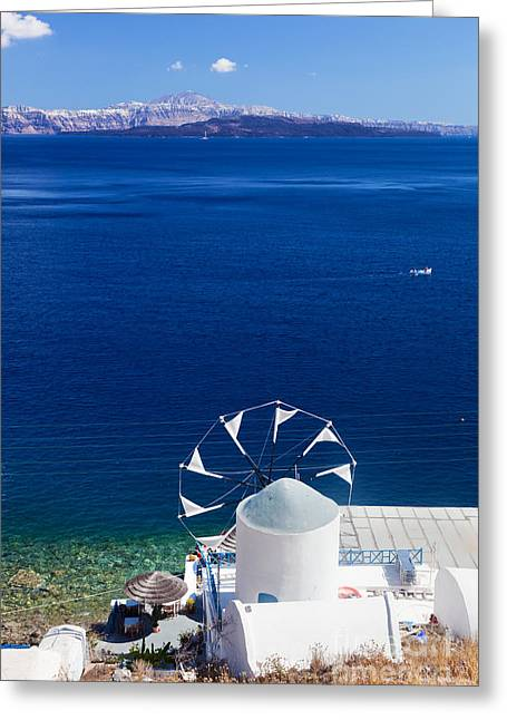 View On Windmill And Aegean Sea From Therasia Island Greeting Card