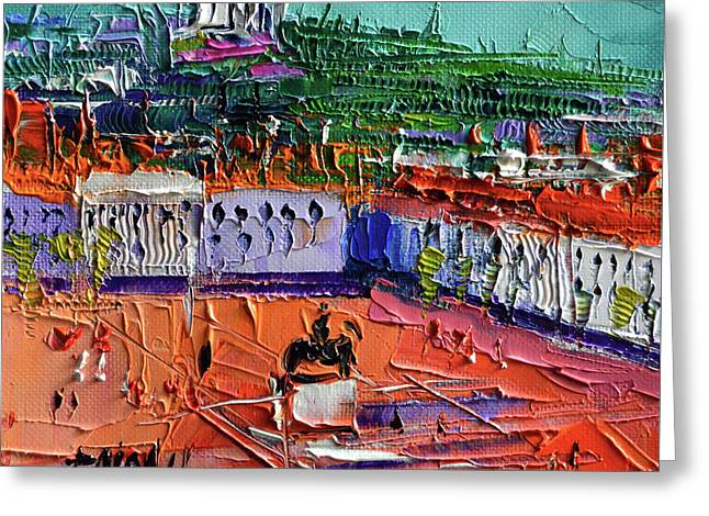 View Over Bellecour Square - Abstract Miniature Cityscape Greeting Card