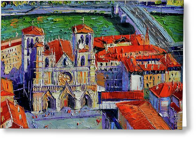 View Over Cathedral Saint Jean Lyon Greeting Card