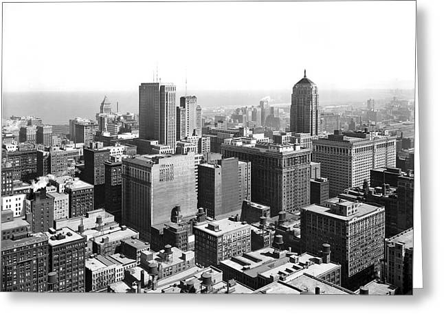 View Over Downtown Chicago Greeting Card by Underwood Archives