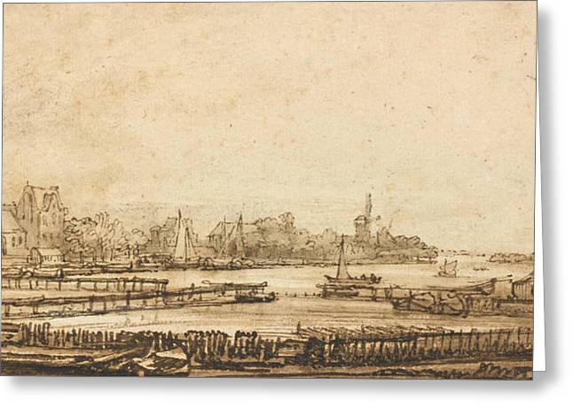 View Over The Amstel From The Rampart Greeting Card by Rembrandt