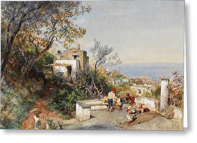 View Over The Bay Of Naples Greeting Card by Oswald Achenbach