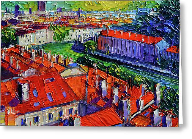 View Over The City Of Lyon France Greeting Card by Mona Edulesco