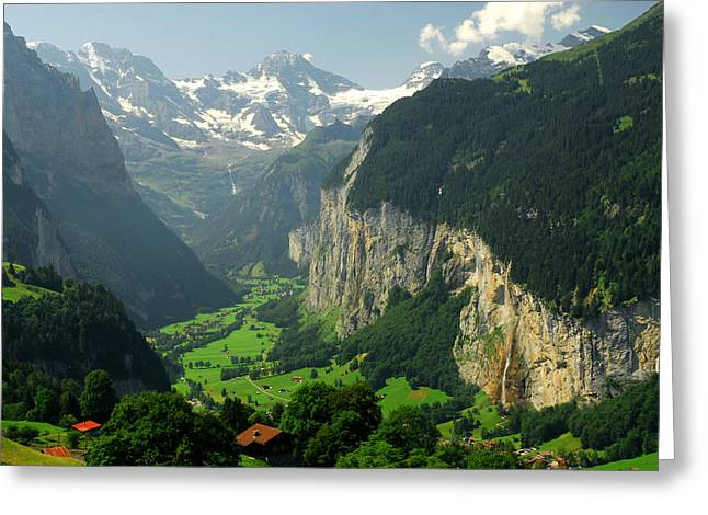 View Overlooking The Lauterbrunnen Greeting Card by Anne Keiser