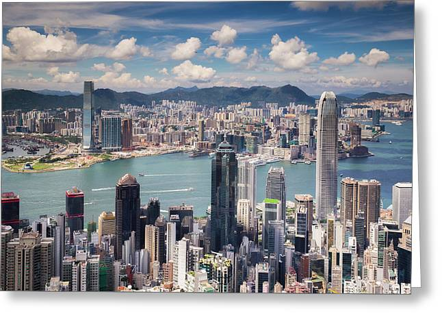 View Point Of Hongkong City And Kowloon City From The Top Of Vic Greeting Card