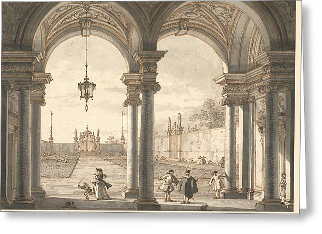 View Through A Baroque Colonnade Into A Garden Greeting Card by Canaletto
