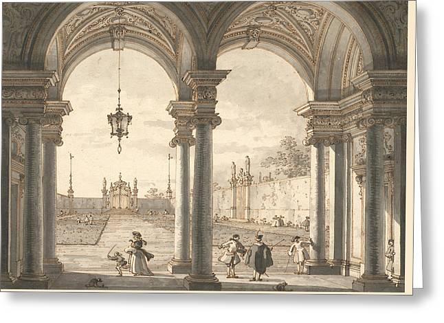 View Through A Baroque Colonnade Into A Garden Greeting Card