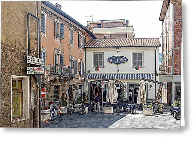 View To The Main Square Tavernelle Umbria Greeting Card