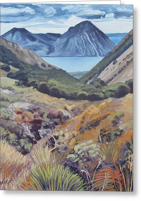 View Towards The Lake Ohau And The Ben Ohau Range From Te Araroa Trail Greeting Card by Wojciech Pater