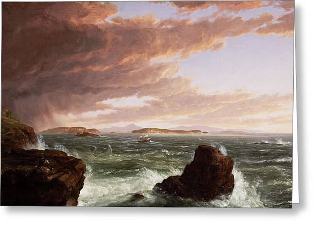 Views Across Frenchman's Bay From Mt. Desert Island Greeting Card by Thomas Cole