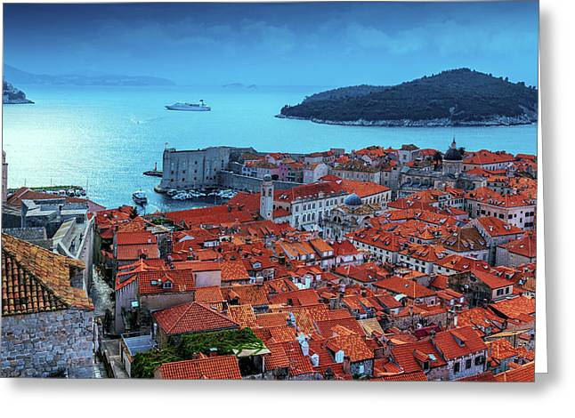 Views Of Dubrovnik, The Port And The Adriatic Sea Greeting Card