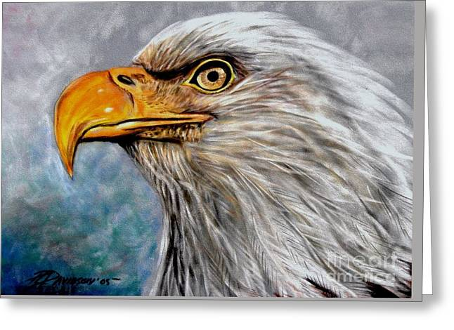 Greeting Card featuring the painting Vigilant Eagle by Patricia L Davidson