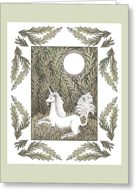 Greeting Card featuring the drawing Vigilant Unicorn by Lise Winne