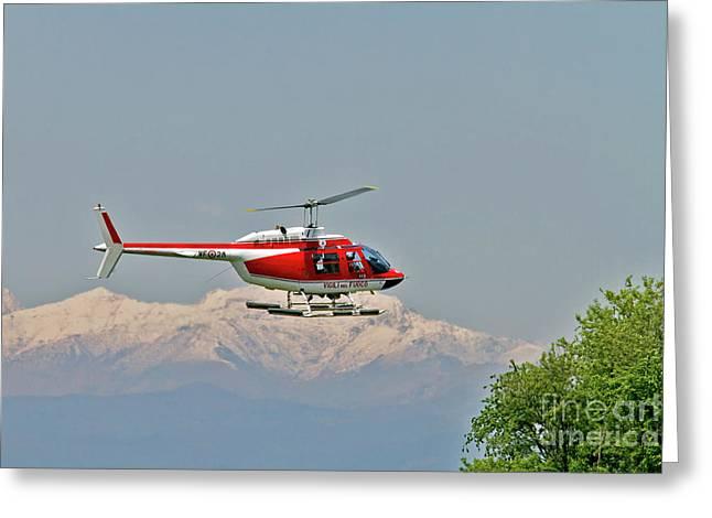 Vigili Del Fuoco Vf 80 Agusta A109 Power Helicopter Greeting Card by Amos Dor