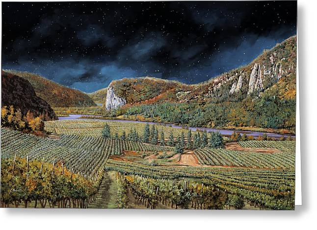 Vigne Nella Notte Greeting Card by Guido Borelli