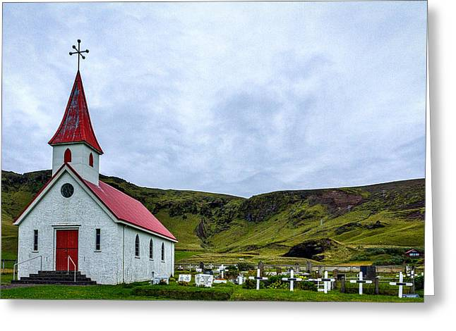 Vik Church And Cemetery - Iceland Greeting Card