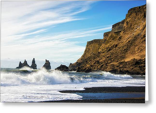 Greeting Card featuring the photograph Vik Reynisdrangar Beach And Ocean Iceland by Matthias Hauser