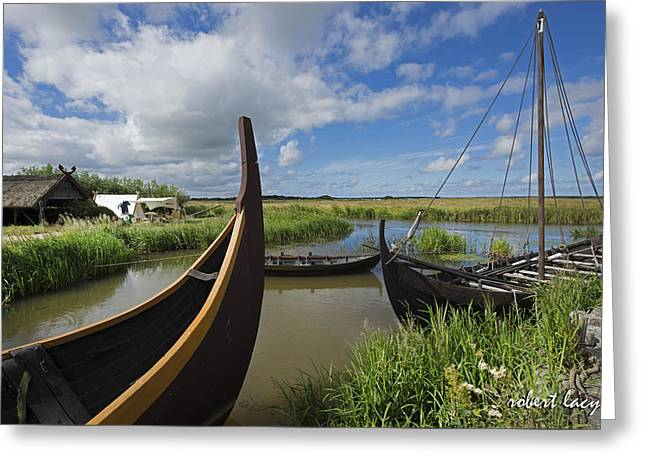 Viking Boats Greeting Card by Robert Lacy