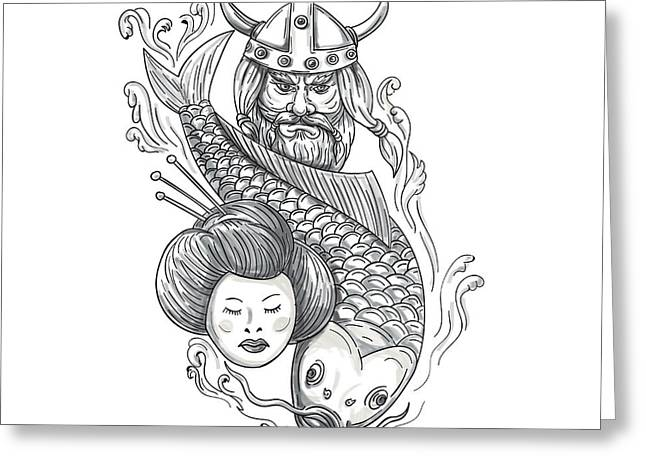 Viking Carp Geisha Head Tattoo Greeting Card by Aloysius Patrimonio