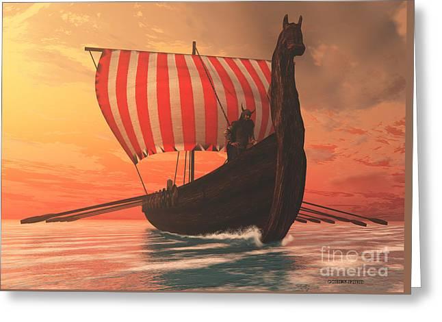 Viking Man And Longship Greeting Card by Corey Ford