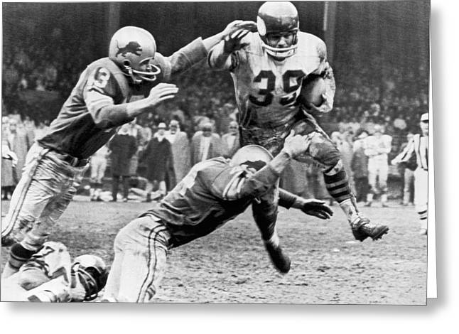 Viking Mcelhanny Gets Tackled Greeting Card by Underwood Archives