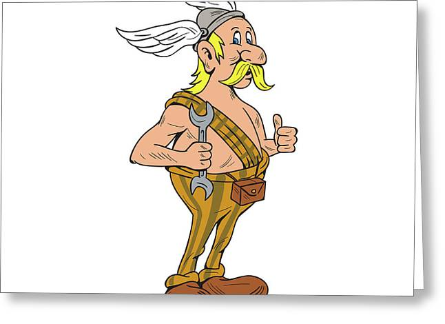Viking Repairman Spanner Thumbs Up Cartoon Greeting Card