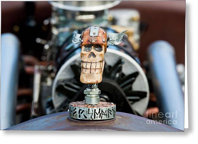 Greeting Card featuring the photograph Viking Skull Hood Ornament by Chris Dutton