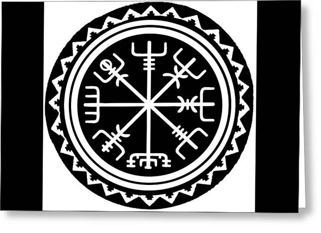Greeting Card featuring the digital art Viking Vegvisir Compass by Vagabond Folk Art - Virginia Vivier